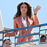 Eva Longoria gave a wave from her rooftop photo shoot at the Cannes Film Festival.