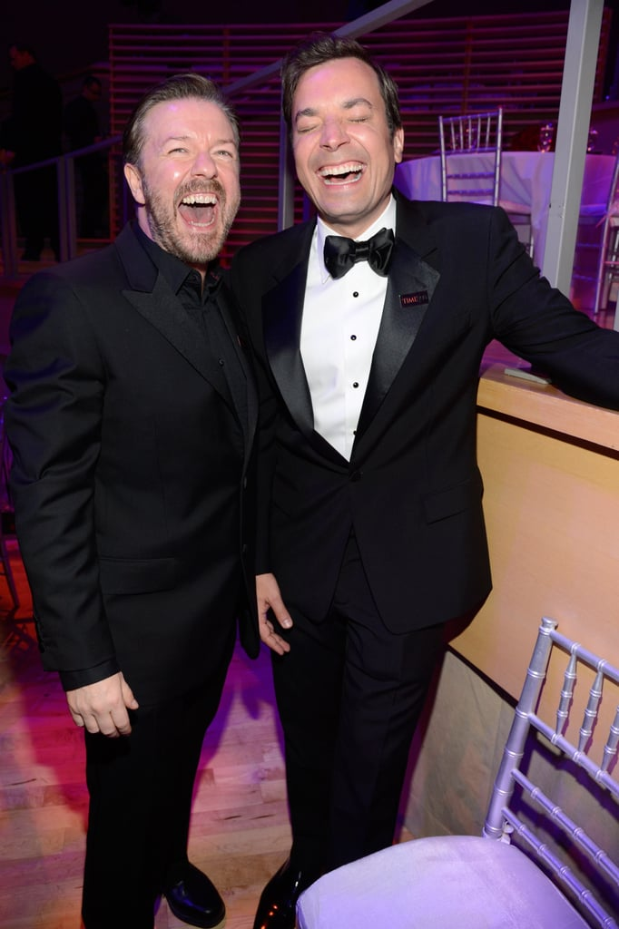 Ricky Gervais and Jimmy Fallon shared a laugh.