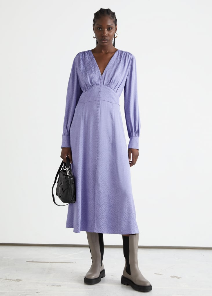 & Other Stories Voluminous Sleeve Jacquard Midi Dress