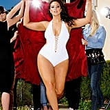 Ashley Graham is wearing the Ashley Graham x Swimsuits For All VIP White Swimsuit ($62, originally $96)