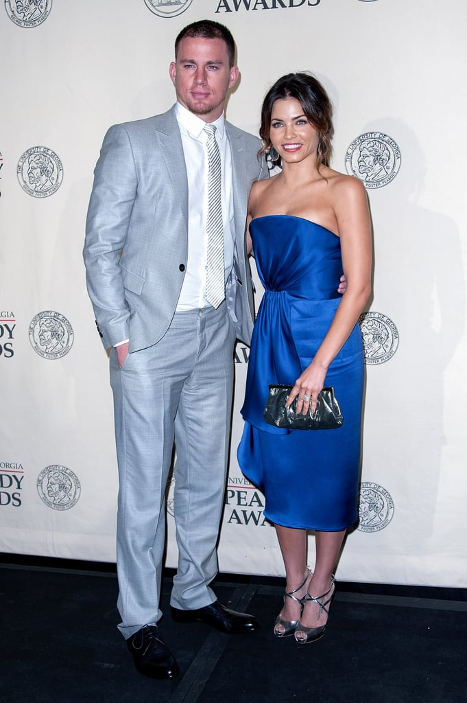 "Channing Tatum and Jenna Dewan were among the honorees at yesterday's 71st Peabody Awards in NYC. The pair happily accepted the bronze award on behalf of the groundbreaking documentary they produced, Earth Made of Glass. Backstage during the show, Jenna talked to reporters about the film, saying, ""It's nice to be recognized for a project that we feel we're really proud of . . . I think it has a great message, and it's nice just to get that awareness out."" This could be the first of many trophies for Channing this year. In addition to six Teen Choice nominations for his work in The Vow and 21 Jump Street, he's also up for multiple MTV Movie Award nominations including best kiss, best male performance, best fight, and best cast. Channing's hot body is also getting lots of recognition in the latest Magic Mike trailer. His hot dance moves and shirtless scenes are a hit with fans, and he's quickly rising the ranks in this year's PopSugar 100. Channing's a true contender to capture the title, though he's going to have to unseat Robert Pattinson if he wants to win. There's still time to vote for Channing, Jenna, Rob, and all your favorite stars. It's simple: just log in to your PopSugar account and play our PopSugar 100 faceoff game for a chance to win $2,500!"