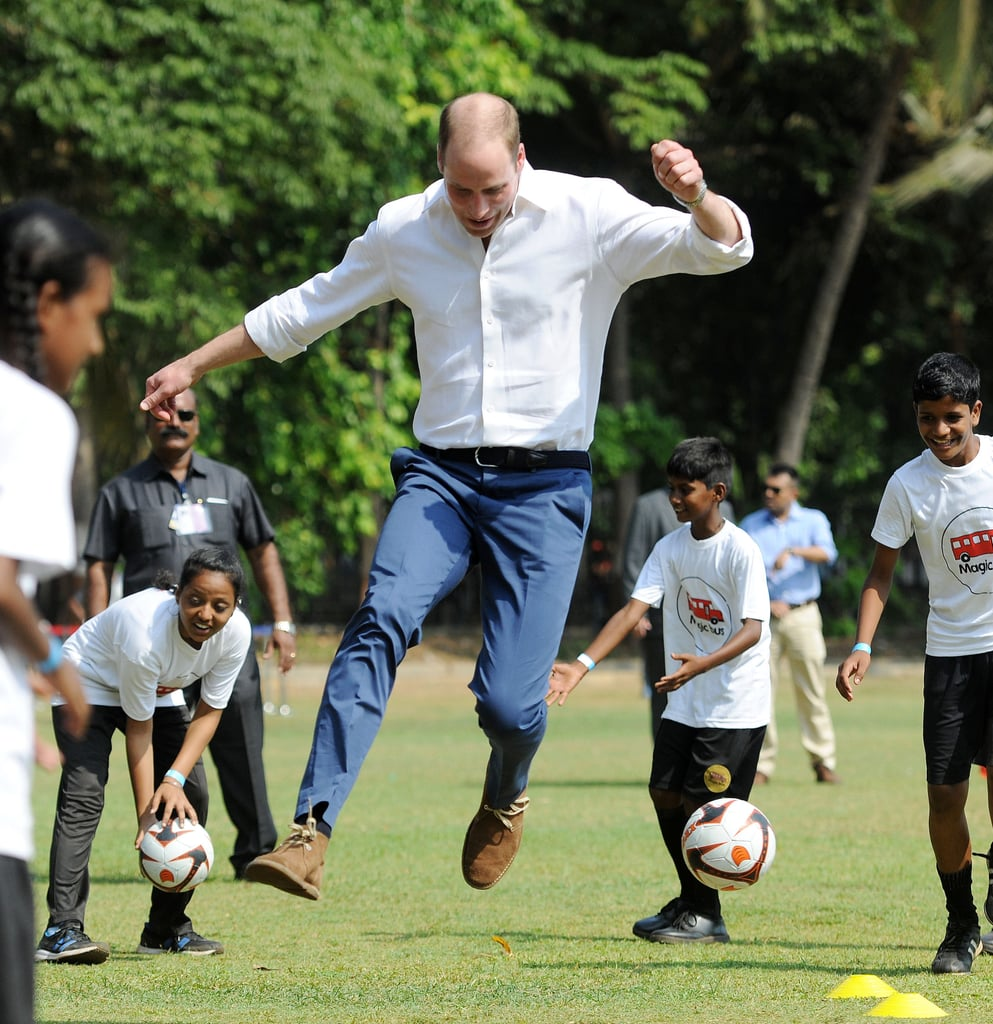 William got in on the action and joined local children in a cricket match during the couple's visit to Mumbai, India in April 2016.