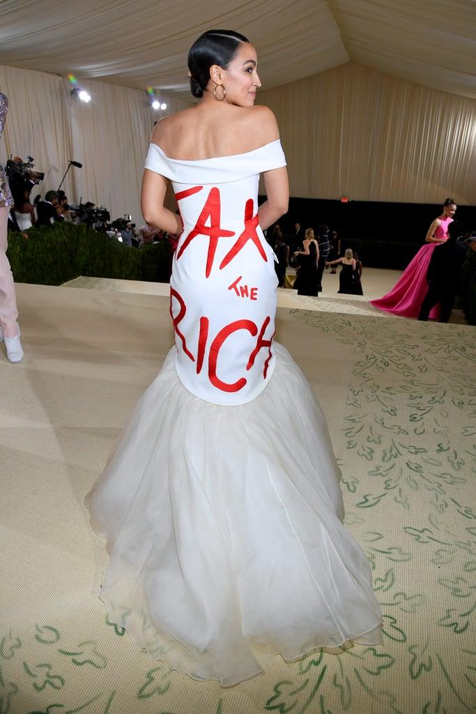 Alexandria Ocasio-Cortez's Brother Vellies Dress at Met Gala
