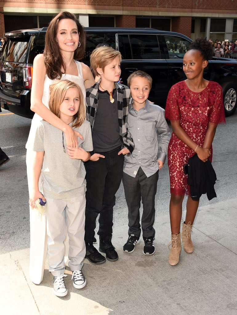 Angelina, Shiloh, Vivienne, Zahara, and Knox were all smiles when they arrived at the 2017 Toronto Film Festival.
