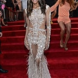 Ciara made a beautiful entrance in a sheer embellished gown by Givenchy Haute Couture — and 50-carat, $2 million Lorraine Schwartz diamond stud earrings — on the MTV VMAs red carpet.
