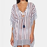 Jessica Simpson Striped Chiffon Border Cover Up With Tassels