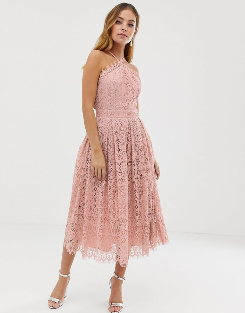 Asos Design Petite Lace Midi Dress With Pinny Bodice The
