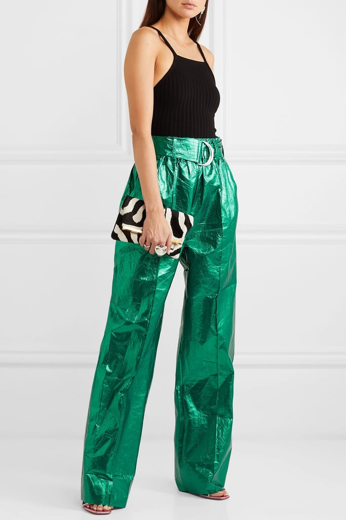 Stand Studios Alaina belted crinkled metallic faux leather wide-leg pants
