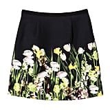 Black Satin Photo Floral Skirt ($30)