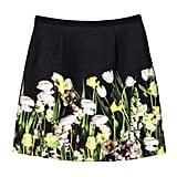 Black Satin Photo Floral Skirt ($30)
