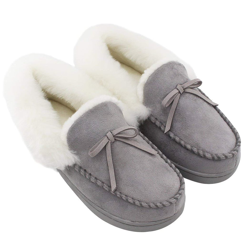 HomeIdeas Women's Faux Fur Lined Suede House Slippers