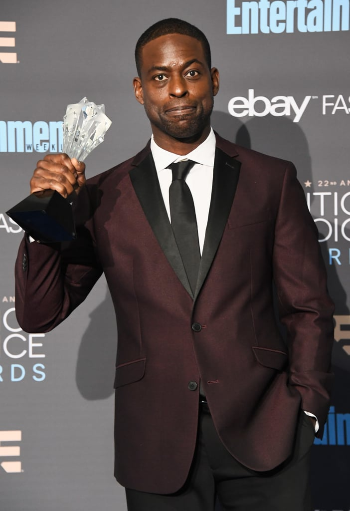 Sterling K. Brown turned up the heat when he attended the 2017 Critics' Choice Awards on Sunday. The actor, who took home an award for his role in The People v. O.J. Simpson, looked super dapper as he walked the blue carpet with his wife, Ryan Michelle Bathe. While he sported a maroon jacket and black slacks, his wife looked absolutely gorgeous in a white gown. Later that evening, he also shared a hilarious moment with his onscreen dad, Milo Ventimiglia, when the This Is Us costars presented on stage together.       Related:                                                                The Cast of This Is Us Looks So Good at the Critics' Choice Awards You Might Cry                                                                   The Love in Sterling K. Brown's Family Photos Will Wrap Around You Like a Warm Blanket                                                                   Get Ready, Because Your Crush on Sterling K. Brown Is About to Go Into Overdrive
