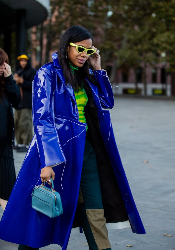 Mix and match similar tones, like bright blue, teal, and green, for a head-turning look that's full of colour.