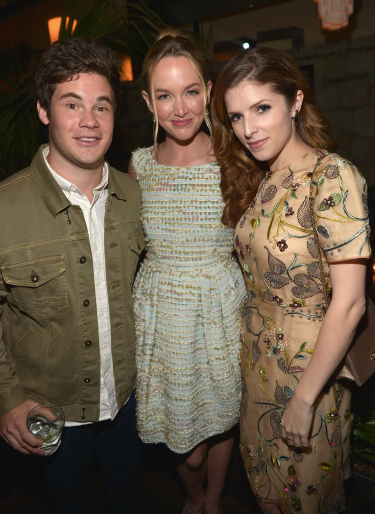 "Anna Kendrick had a mini Pitch Perfect reunion on Friday when she attended Vanity Fair and L'Oréal's pre-Oscars party in LA. The actress met up inside the party with Workaholics star Adam DeVine and girlfriend Kelley Jakle, both of whom costarred with Anna in the beloved comedy. There will be an even bigger reunion with the anticipated Pitch Perfect sequel, which will bring back Anna, Kelley, Brittany Snow, and Rebel Wilson. The sequel has yet to start filming, but it was announced earlier this month that it will be released on May 15, 2015, and will be directed by Elizabeth Banks. Adam has yet to officially sign on for the new film, but he does have an idea for how his character, Bumper, could make his return: ""I pitched to Kay Cannon, who wrote the movie and is writing the second one as well, that I want to come back as a K-pop star. Like, maybe it didn't work in America, so I went over to Korea and just blew up. So we'll see if she took that to heart and wrote it in the next script."" In addition to hanging out with her costars, Anna also mingled at the Friday bash with fellow funny lady Aubrey Plaza and actress Zoë Kravitz. Last weekend, Anna met up with Kelley and Brittany to catch Britney Spears's live show in Las Vegas."