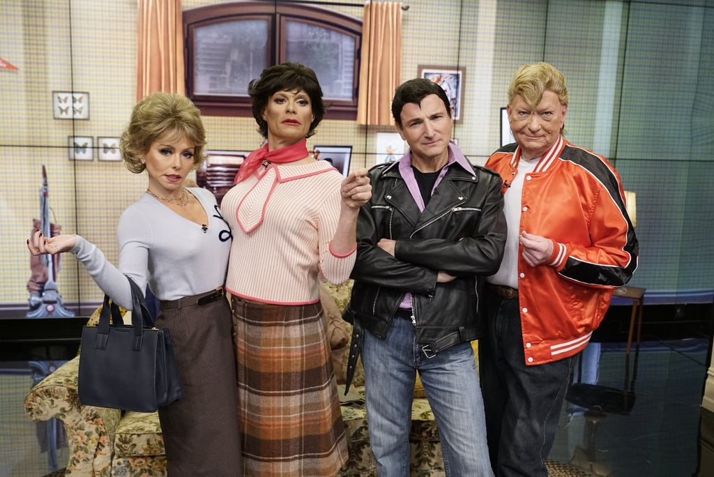 Kelly Ripa, Ryan Seacrest, Michael Gelman, and Art Moore morph into characters from the show Laverne & Shirley.