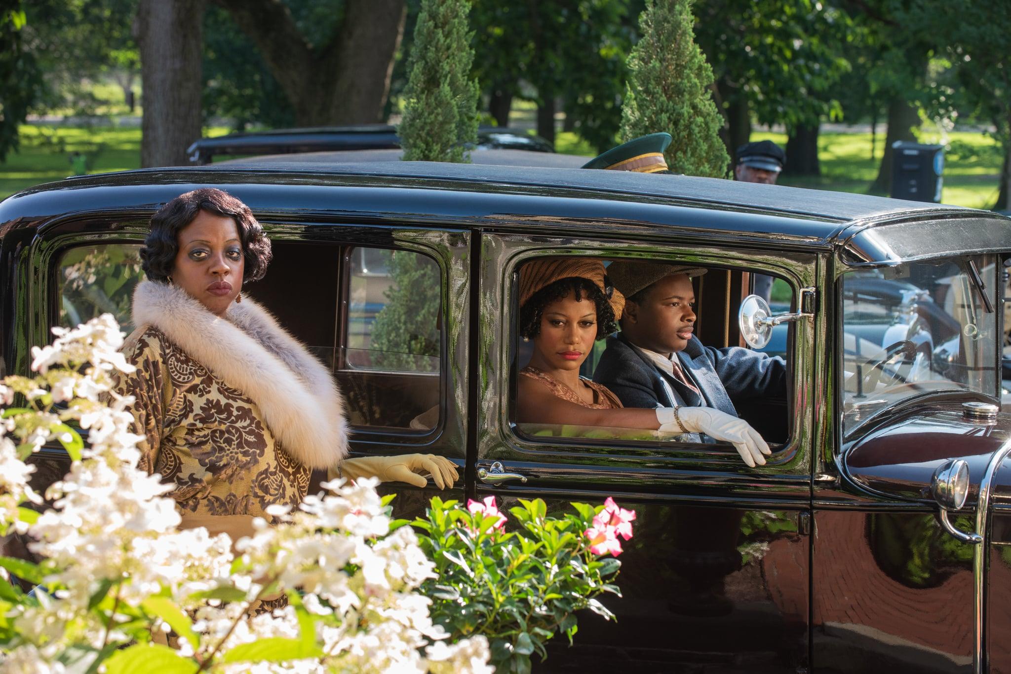 Ma Rainey's Black Bottom (2020): (L to R) Viola Davis as Ma Rainey, Taylour Paige as Dussie Mae, and Dusan Brown as Sylvester.Cr. David Lee / Netflix