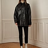Pixie Market Black Vegan Leather Shirt