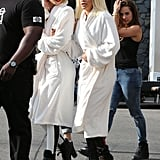 """On Saturday, Iggy Azalea and Rita Ora wore robes on the set of their music video for their single """"Black Widow"""" in LA."""