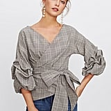 Shein Gathered Sleeve Plaid Wrap Top