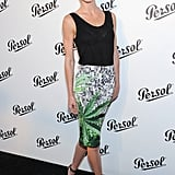 The sun never sets on the cool — Hilary Rhoda added quintessential Summer shades to her printed pencil skirt at Persol's NYC event.