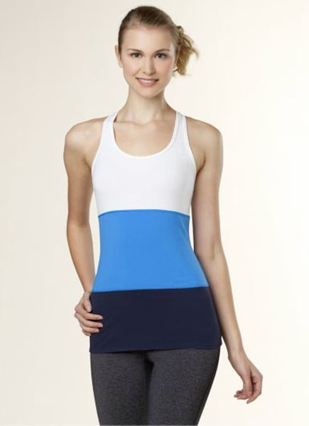 The colorblock effect has been all the rage on the runways this season. Bring the fashion-forward look to your gym routine with this Bold Stripe Gym Racerback ($45).