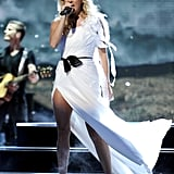 Carrie Underwood wore a white dress on American Idol.