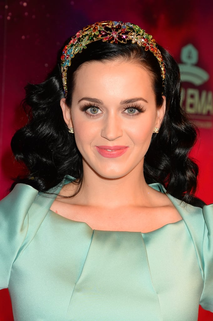 Katy Perry never shies away from a bold look, and her rainbow-colored headband for the MTV EMA awards featured jeweled flowers in a myriad of bright hues.