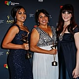 Jessica Mauboy, Deborah Mailman and Shari Sebbens — stars of The Sapphires — were the centre of attention at the AACTA Awards on January 30.
