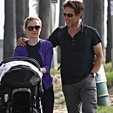 Anna Paquin and Stephen Moyer pushed their twins in a stroller.