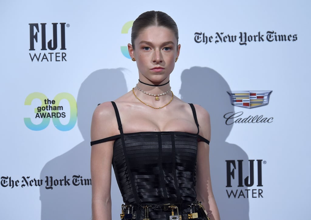 Hunter Schafer's Black Bustier Givenchy Dress and Gold Belt