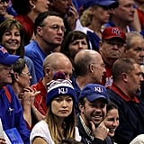 Jason and Olivia sat with the KU fans.