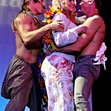 Anna Nicole Smith got groped on stage during a Chippendales show in Vegas in 2002.