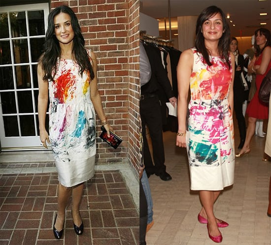 Demi Moore and Roopal Patel in Yves Saint Laurent brushstroke dress