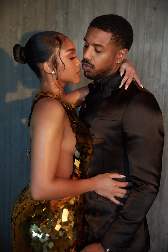 Lori Harvey and Michael B. Jordan are doing date night right. The couple recently went all out for Michael's Without Remorse movie premiere, wearing custom Prada, because what could be more glamorous? Lori and Michael trusted stylist Jason Bolden for these looks and he did. the. damn. job.  Michael looked fine as ever in his satin double-breasted tuxedo, but really, we need to give Lori a standing ovation for her moment in gold. The metallic sequin gown is a complete goddess moment, fit for any red carpet event. She finished off the look with black satin sandals from the designer. No wonder Michael can't keep his eyes off of her! Get another peek at their outfits in the photos ahead.       Related:                                                                                                                                Steve Harvey, Protective Father of Lori Harvey, Tried (and Failed) to Not Like Michael B. Jordan