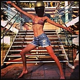 Poppy Delevingne showed off her Daft Punk impression — in a bikini, of course! Source: Instagram user poppydelevingne