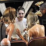 Judy Greer, Shailene Woodley, Stacy Keibler, and George Clooney chatted during an Oscar commercial break.