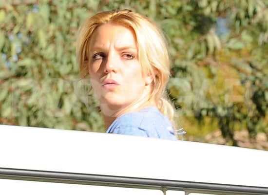 Pictures of Britney Spears Peeking Out Her SUV Sunroof