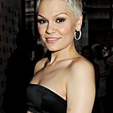 Jessie J gave off some edge with bold brows and a peroxide blond pixie cut.