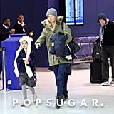 Gwyneth Paltrow and Chris Martin arrived in NYC in January 2012 with their kids Apple and Moses.