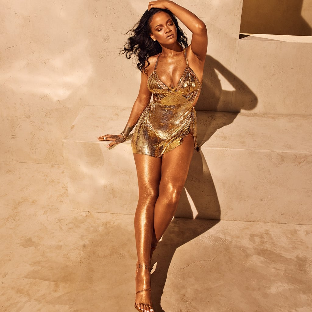 75881e23e0a4 Rihanna s Gold Minidress Fenty Beauty