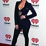 Jennifer Lopez wearing a House of CB bodysuit at the 2015 iHeartRadio music festival.