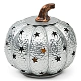 Galvanized Pumpkin With LED Candle Holder