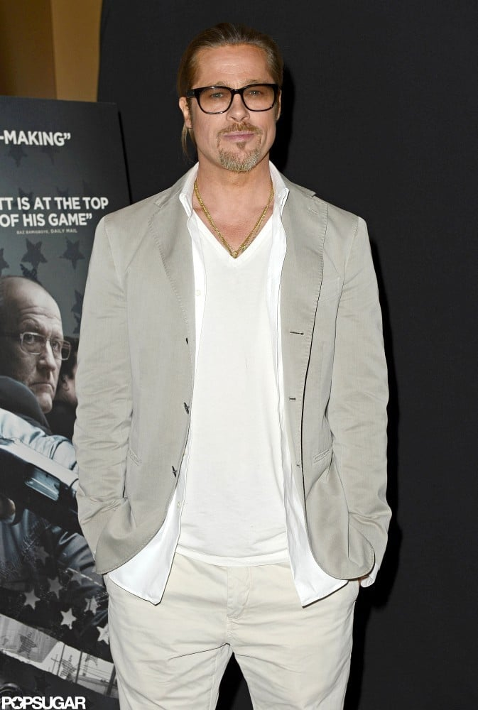 Brad Pitt wore glasses and a gray blazer in London.