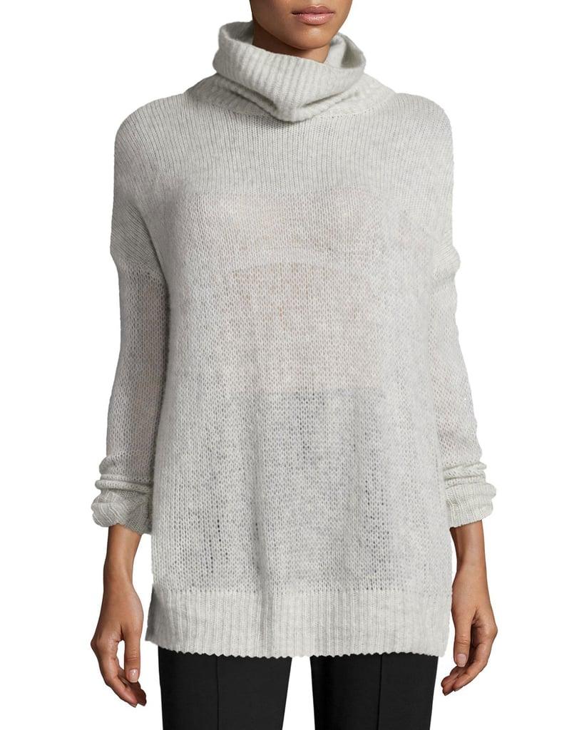 Rag & Bone Philipa Knit Cashmere Turtleneck Sweater, Light Gray ($370)