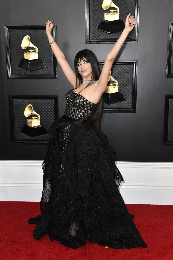 camila cabello black high low versace dress at grammys 2020 popsugar fashion low versace dress at grammys 2020