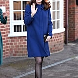 Kate Wearing Her Blue Goat Fashion Coat in February 2018