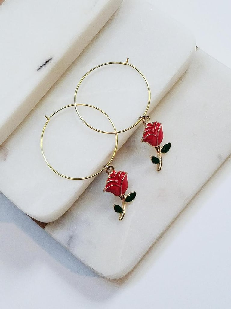 Belle: Rose Hoop Earrings
