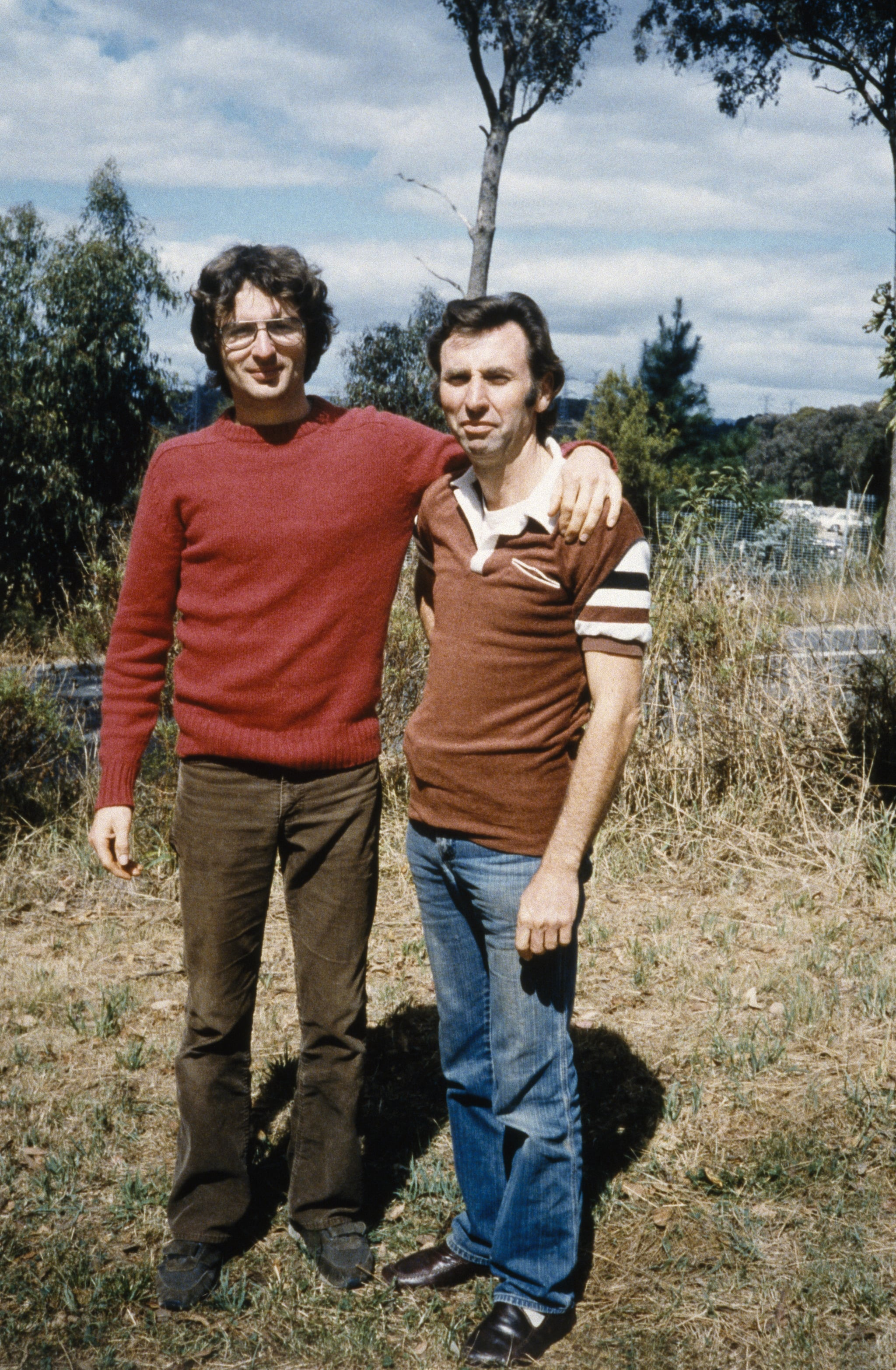 Branch Davidian founder David Koresh (L.) during his first visit to Australia to recruit members. He was accompanied by Clive Doyle (R.) on the trip. (Photo by Elizabeth Baranyai/Sygma via Getty Images)