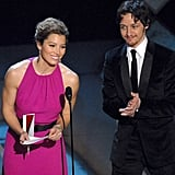 Jessica Biel and James McAvoy took the stage together to present an award.