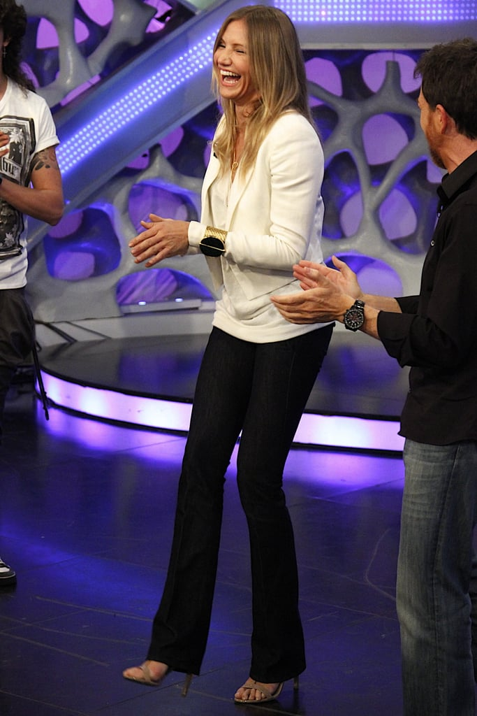 Cameron Diaz got playful on the set of the Spanish show El Hormiguero in Madrid today. It was the latest silly TV moment after Cameron sported a futuristic white dress on Late Night With Jimmy Fallon to promote Bad Teacher last week. Cameron and her leading man Justin Timberlake premiered their raunchy film side by side in the Big Apple, and the press paid off when they landed the second place spot at the box office on opening weekend. Cameron is still fulfilling her obligations for the movie, but her costar has already moved on to another project since it was just announced that Justin Timberlake invested in the relaunch of MySpace.